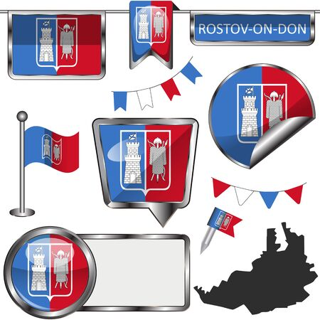 Vector glossy icons of flag of Rostov on Don, Russia on white Vektorové ilustrace