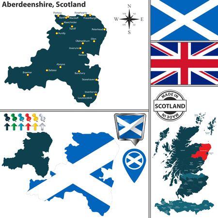Mapa de vectores de Aberdeenshire, Escocia y ubicación en el mapa escocés
