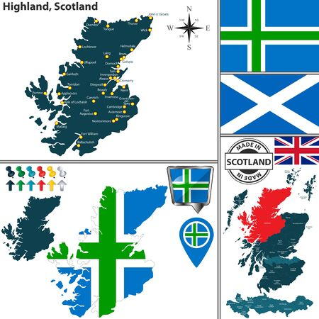 Vector map of Highland, Scotland and location on Scottish map
