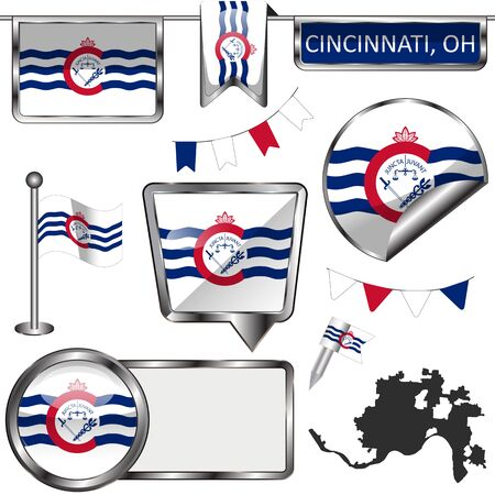Vector glossy icons of flag of Cincinnati, Ohio state of the United States on white