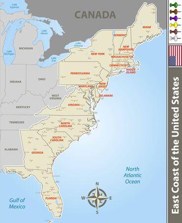 Vektorsatz der Ostküste der Vereinigten Staaten mit Nachbarstaaten