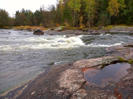 Photo of mountain river with rapids in Finland, golden autumn 版權商用圖片 - 131465351