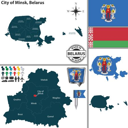 Vector map of Minsk city and location on Belarusian map. Names of districts are signed in English and in original Belarusian language
