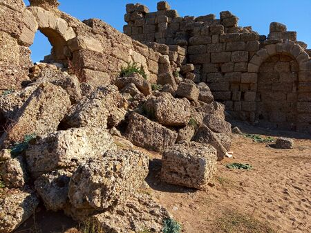 Photo of ancient ruins of Side city, Turkey Zdjęcie Seryjne - 138016166