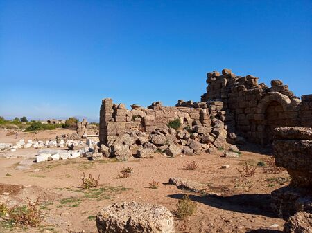 Photo of ancient ruins of Side city, Turkey Stock Photo