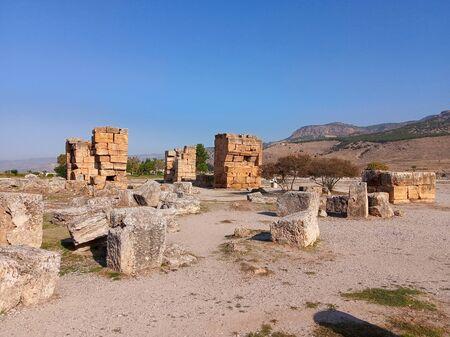 Ruins of ancient Greek city Hierapolis, Pamukkale city, Turkey Stock Photo
