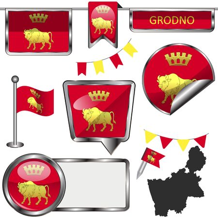 Vector glossy icons of flag of Grodno, Belarus on white