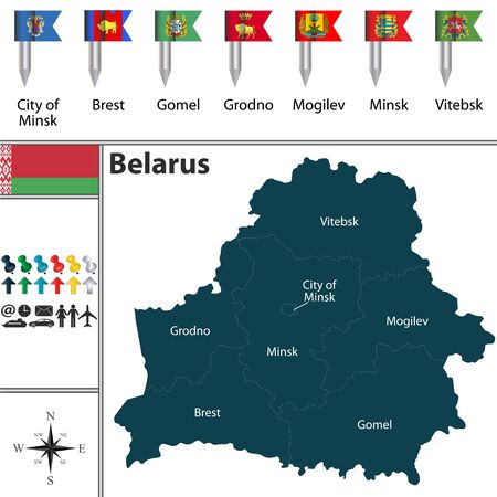 Vector map of Belarus with regions and flags