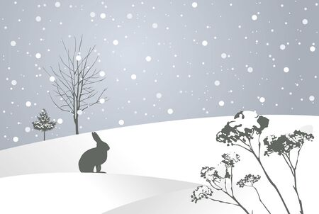 Winter fairy tale in snowy field with rabbit and plants