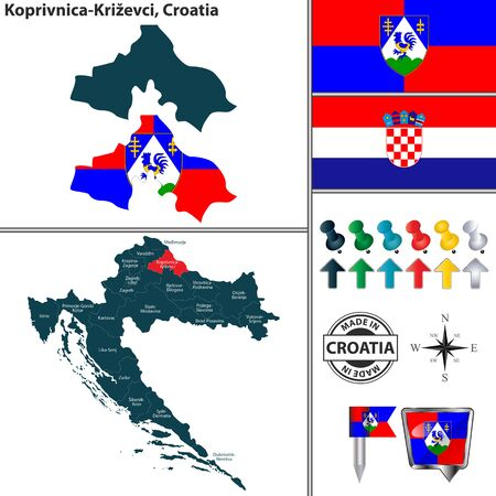 Vector map of Koprivnica Krizevci and location on Croatian map Ilustração