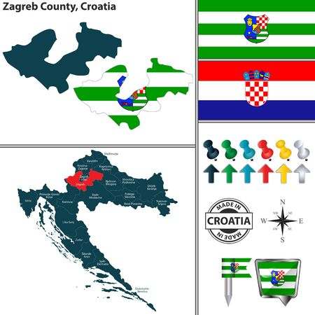 Vector map of Zagreb County and location on Croatian map