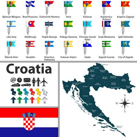 Vector map of Croatia with regions with flags