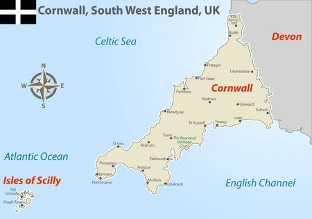 Vector map of Cornwall in South West England, United Kingdom with regions and cities