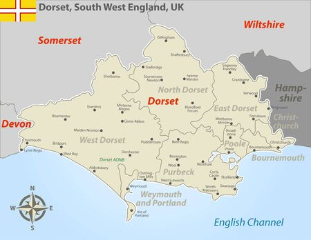 Vector map of Dorset in South West England, United Kingdom with regions and cities