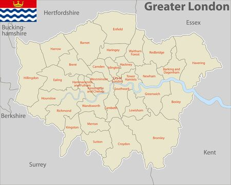 Vector map of Greater London, United Kingdom with named districts and travel icons.