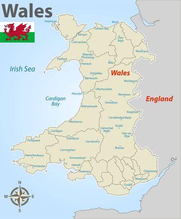 Mappa vettoriale del Galles con distretti e icone nominati