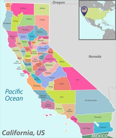 Vecteur de l'état de Californie avec les comtés et l'emplacement sur la carte des États-Unis