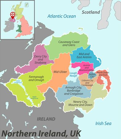 Vector map of Northern Ireland with named districts