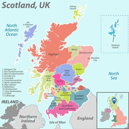 Vector map of Scotland with named districts and location on United Kingdom map