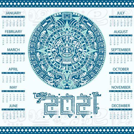Vector calendar 2021 in Aztec style Vektoros illusztráció