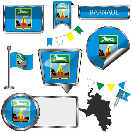Vector glossy icons of flag of Barnaul, Russia on white