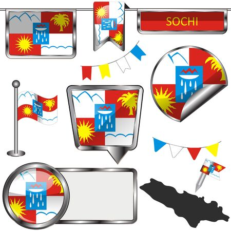Vector glossy icons of flag of Sochi, Russia on white