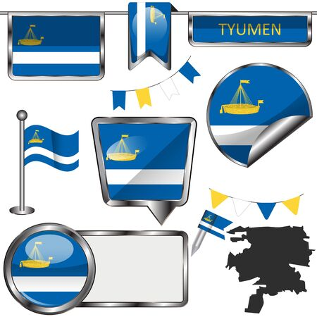 Vector glossy icons of flag of Tyumen, Russia on white