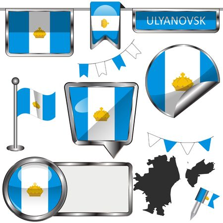 Vector glossy icons of flag of Ulyanovsk, Russia on white
