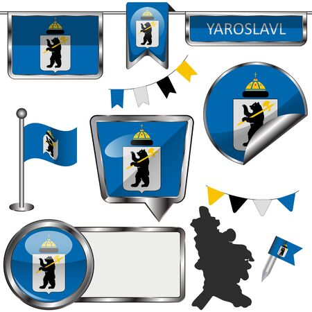 Vector glossy icons of flag of Yaroslavl, Russia on white 向量圖像
