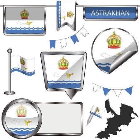 Vector glossy icons of flag of Astrakhan, Russia on white
