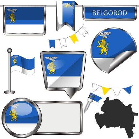 Vector glossy icons of flag of Belgorod, Russia on white