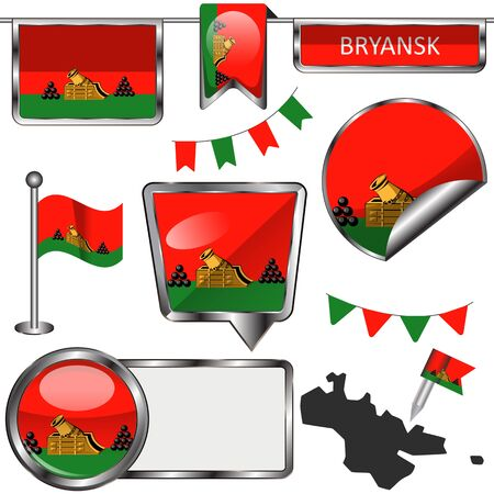 Vector glossy icons of flag of Bryansk, Russia on white