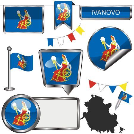 Vector glossy icons of flag of Ivanovo, Russia on white