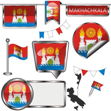 Vector glossy icons of flag of Makhachkala, Russia on white