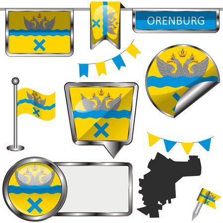 Vector glossy icons of flag of Orenburg, Russia on white