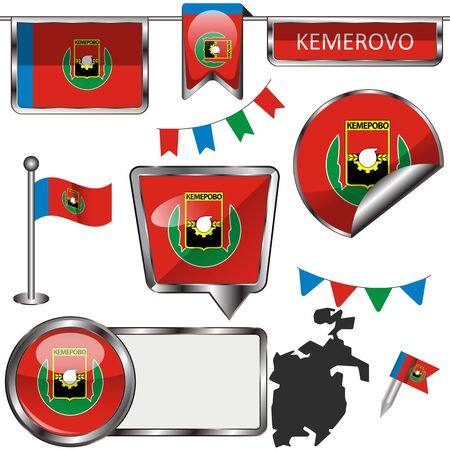 Vector glossy icons of flag of Kemerovo, Russia on white 向量圖像