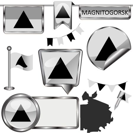 Vector glossy icons of flag of Magnitogorsk, Russia on white
