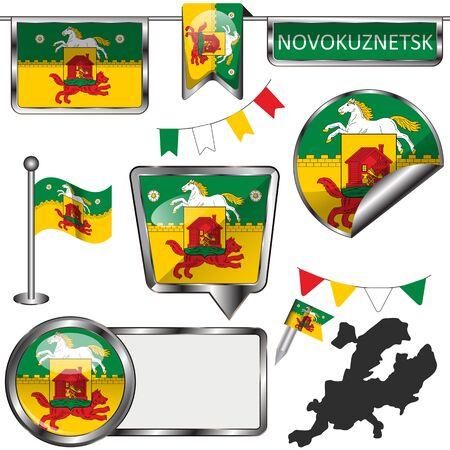 Vector glossy icons of flag of Novokuznetsk, Russia on white