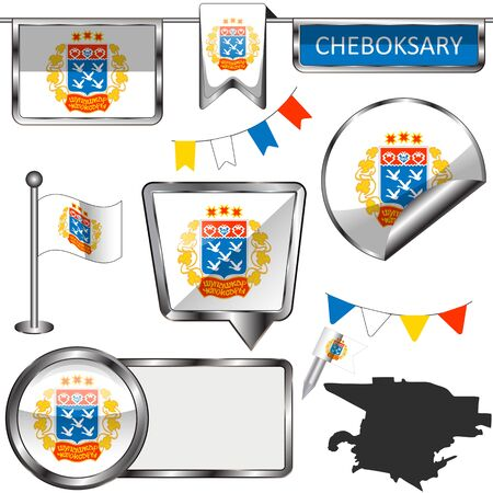 Vector glossy icons of flag of Cheboksary, Russia on white