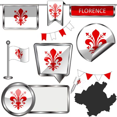 Vector glossy icons of flag of Florence, Italy on white
