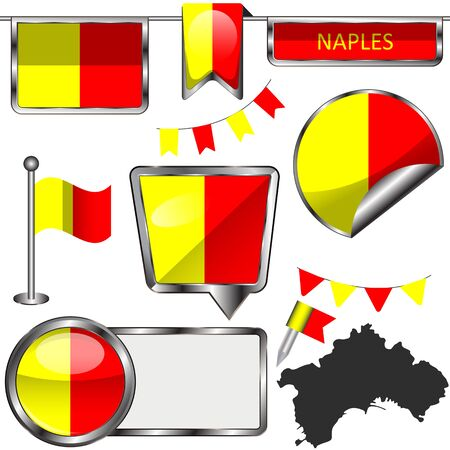 Vector flag of Naples, Italy on white background