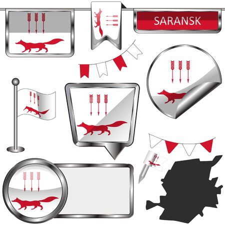 Vector glossy icons of flag of Saransk, Russia on white