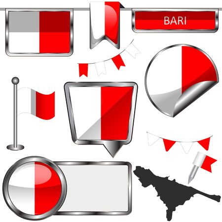 Vector flag of Bari, Italy on white background