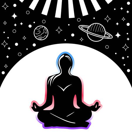 Vector of woman silhouette doing lotus pose with space background