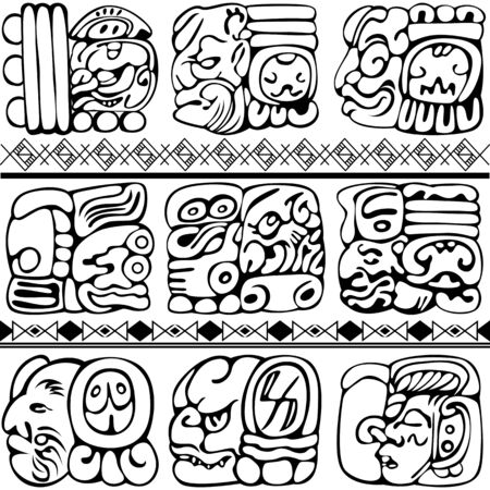 Mayan and aztec glyphs with ancient characters and ornaments on white. Vector image