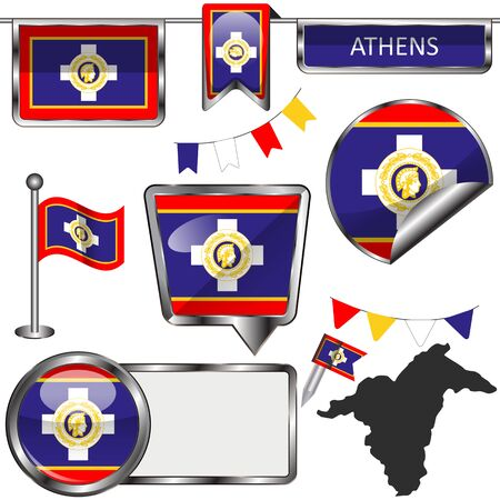 Vector glossy icons of flag of Athens, Greece on white Çizim