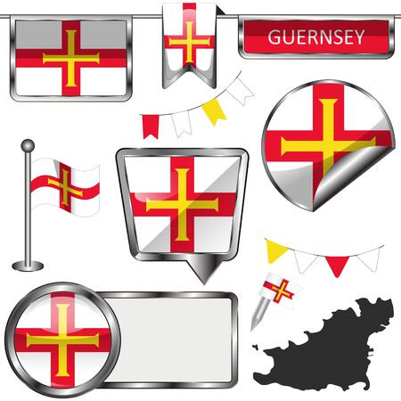 Vector glossy icons of flag of Guernsey, Crown dependencies island, Great Britain  イラスト・ベクター素材