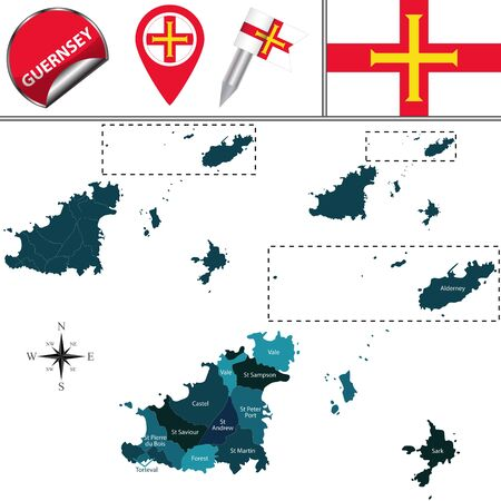 Vector map of Guernsey, Crown dependencies island, Great Britain with named Parishes and icons