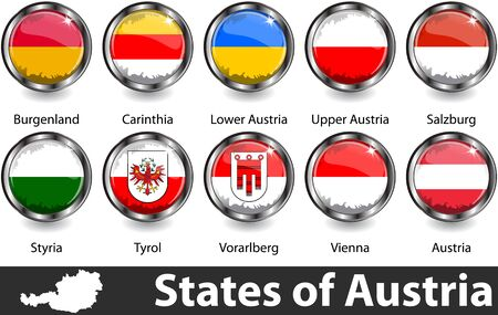 Flags of Austria in glossy badges. Vector image Иллюстрация