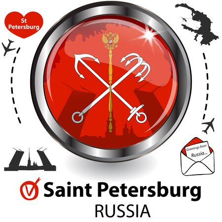 Glossy card with Saint Petersburg in Russia with flag, symbol of the city and travel icons